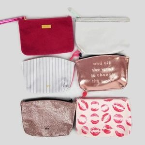 Ipsy 6 bag lot Pink Silver Kisses Stripes Glitter